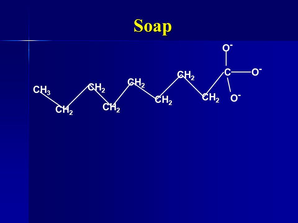 Soap CO-O- CH 3 CH 2 O-O- O-O-
