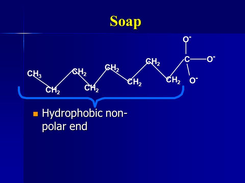 Soap Hydrophobic non- polar end Hydrophobic non- polar end CO-O- CH 3 CH 2 O-O- O-O-