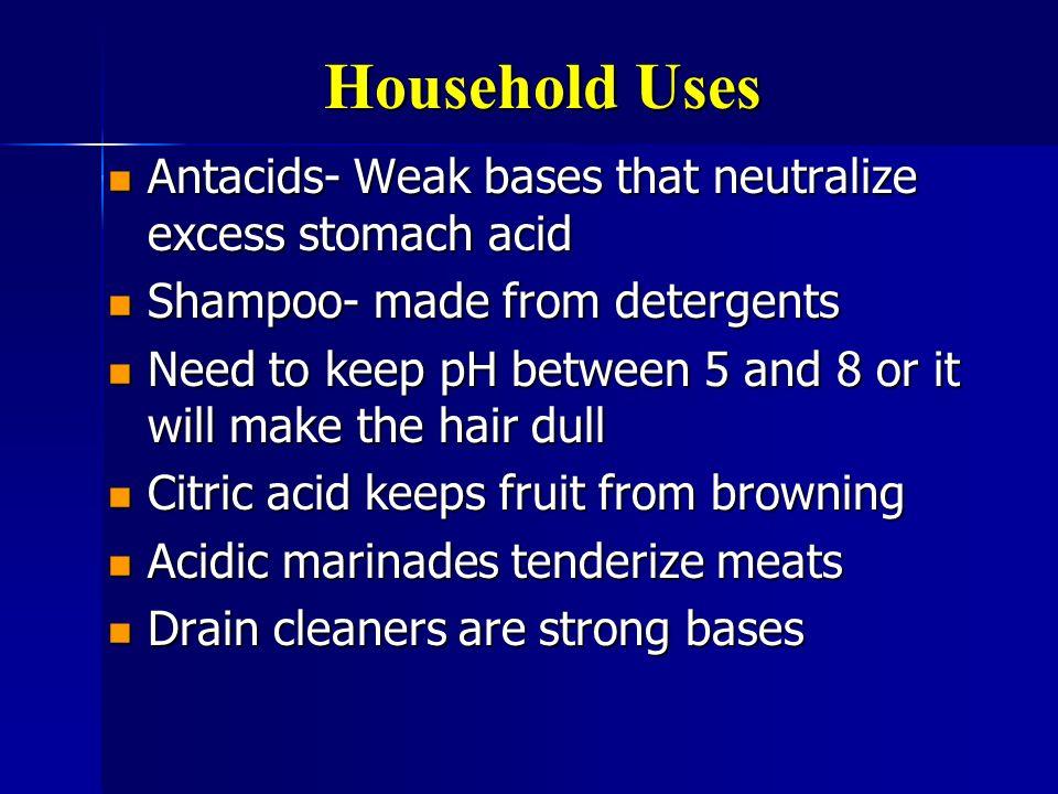Household Uses Antacids- Weak bases that neutralize excess stomach acid Antacids- Weak bases that neutralize excess stomach acid Shampoo- made from de