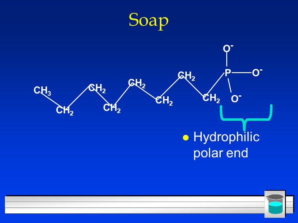 Soap l Hydrophilic polar end PO-O- CH 3 CH 2 O-O- O-O-