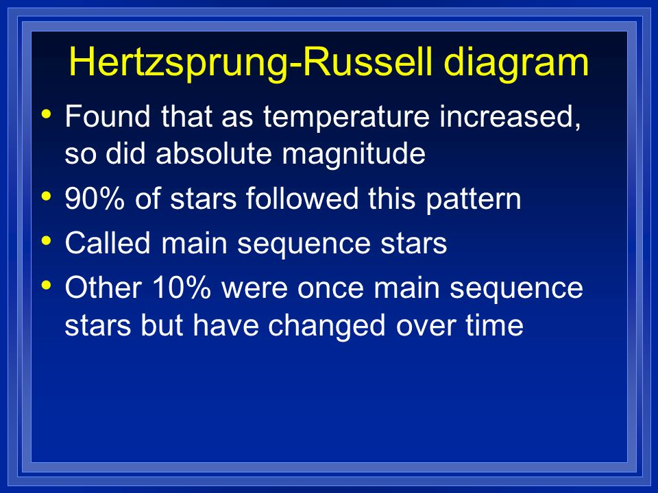 Hertzsprung-Russell diagram Found that as temperature increased, so did absolute magnitude 90% of stars followed this pattern Called main sequence sta