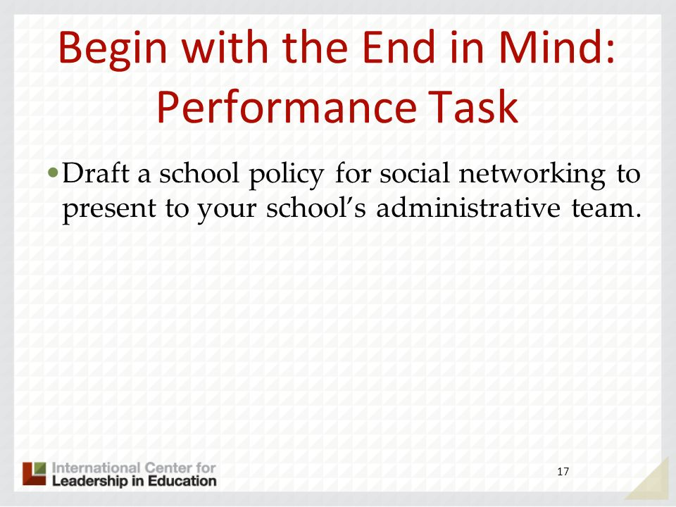 Begin with the End in Mind: Performance Task Draft a school policy for social networking to present to your schools administrative team. 17