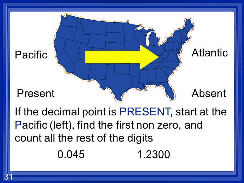 30 Pacific Atlantic PresentAbsent If the decimal point is absent, start at the Atlantic (right), find the first non zero, and count all the rest of th