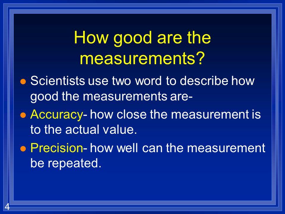 3 Types of observations l Scientists prefer l Quantitative –More precise –No bias –testable
