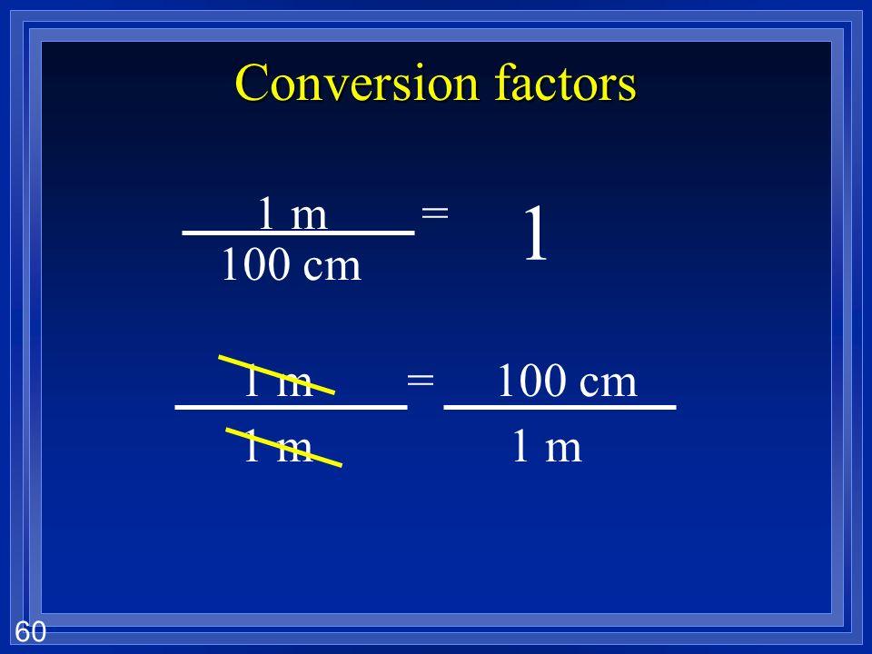 59 Conversion factors 1 1 m= 100 cm