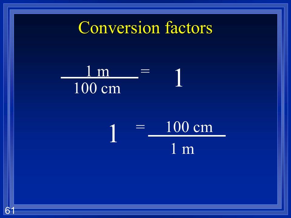 60 Conversion factors 1 1 m= 100 cm =1 m