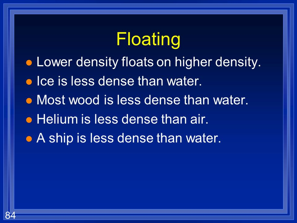83 Calculating l A piece of wood has a density of 0.93 g/mL and a mass of 23 g what is the volume? l The units must always work out. l Algebra 1 l Get