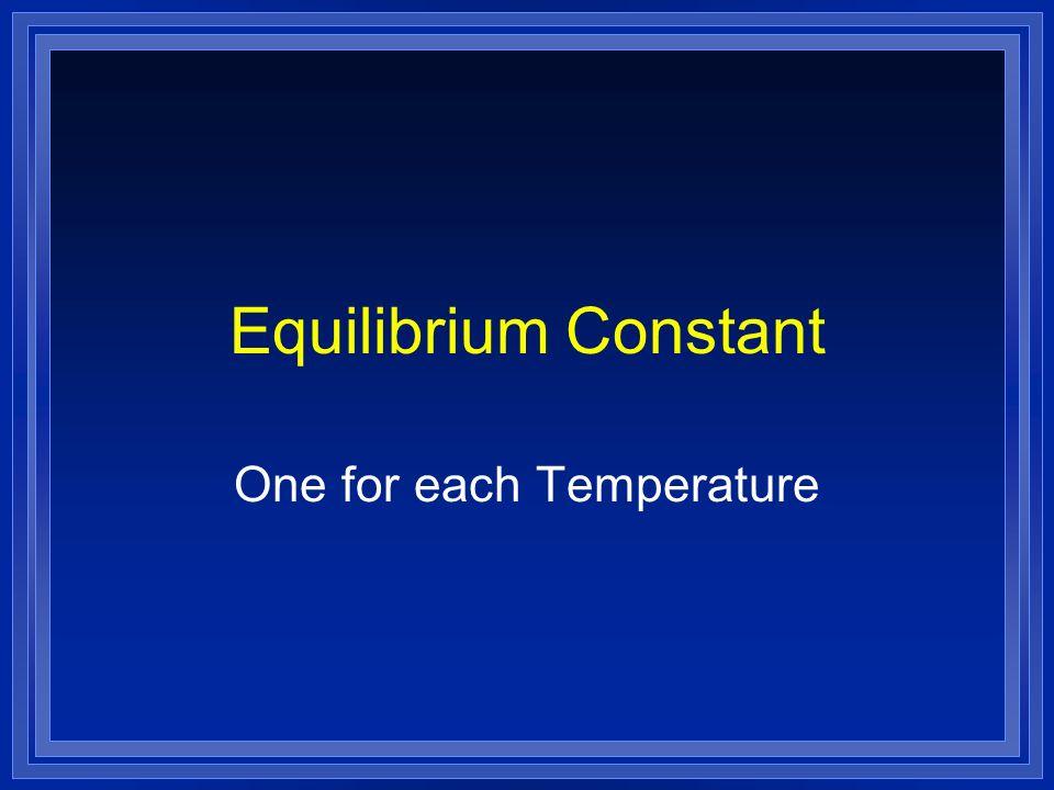 Equilibrium Constant One for each Temperature