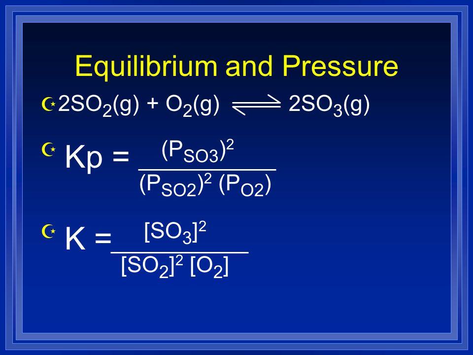 Equilibrium and Pressure Z 2SO 2 (g) + O 2 (g) 2SO 3 (g) Z Kp = (P SO3 ) 2 (P SO2 ) 2 (P O2 ) Z K = [SO 3 ] 2 [SO 2 ] 2 [O 2 ]