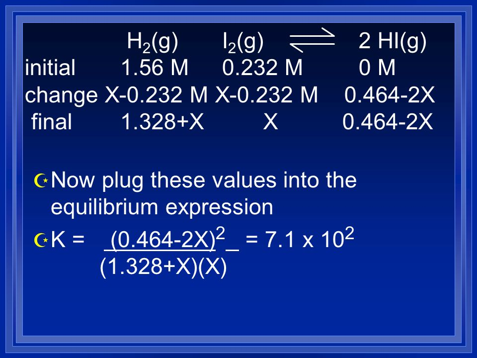 Z Now plug these values into the equilibrium expression Z K = (0.464-2X) 2 = 7.1 x 10 2 (1.328+X)(X) H 2 (g) I 2 (g) 2 HI(g) initial 1.56 M 0.232 M 0 M change X-0.232 M X-0.232 M 0.464-2X final 1.328+X X 0.464-2X