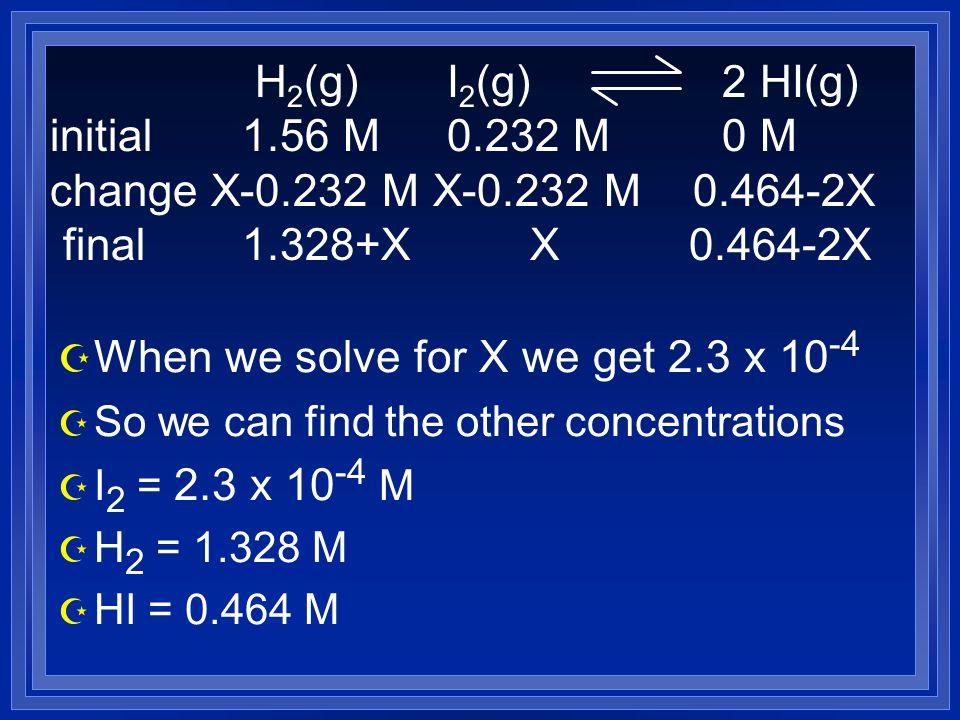 Z When we solve for X we get 2.3 x 10 -4 Z So we can find the other concentrations Z I 2 = 2.3 x 10 -4 M Z H 2 = 1.328 M Z HI = 0.464 M H 2 (g) I 2 (g) 2 HI(g) initial 1.56 M 0.232 M 0 M change X-0.232 M X-0.232 M 0.464-2X final 1.328+X X 0.464-2X