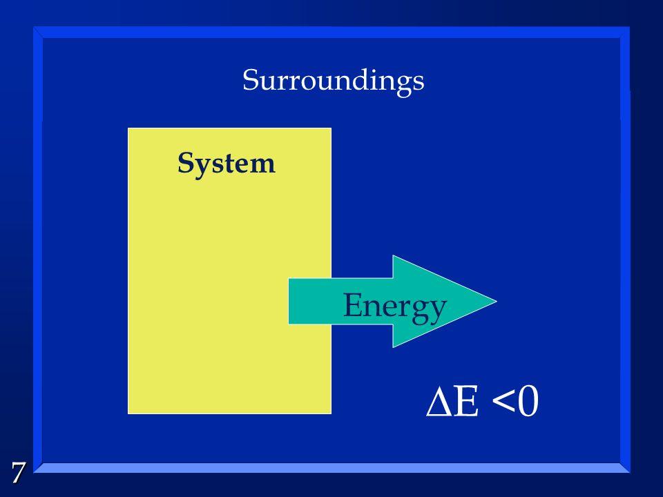 7 System Surroundings Energy E <0
