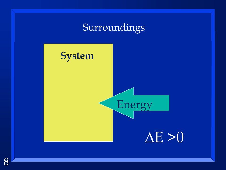 8 System Surroundings Energy E >0
