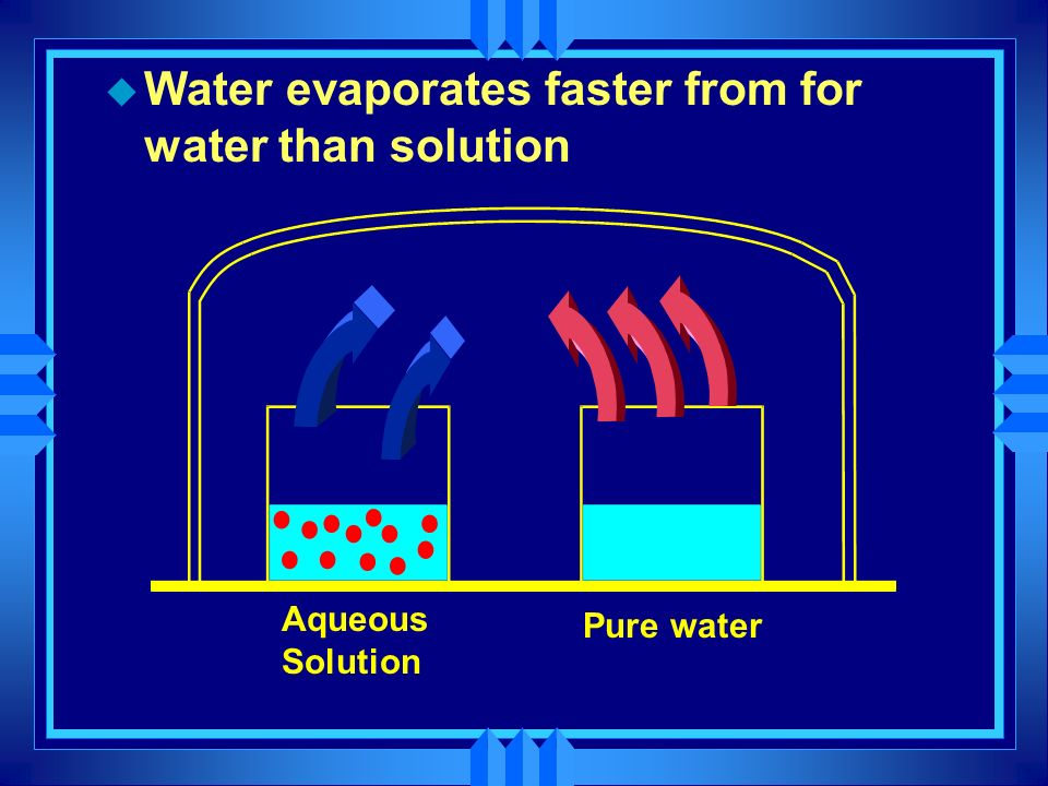 Aqueous Solution Pure water u Water evaporates faster from for water than solution