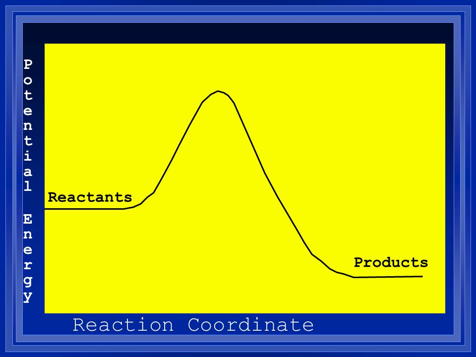 Potential EnergyPotential Energy Reaction Coordinate Reactants Products