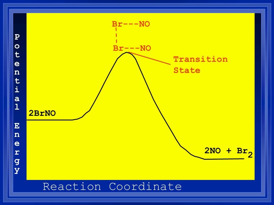 Potential EnergyPotential Energy Reaction Coordinate 2BrNO 2NO + Br Br---NO 2 Transition State