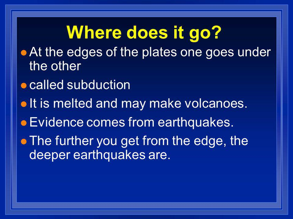 Where does it go? l At the edges of the plates one goes under the other l called subduction l It is melted and may make volcanoes. l Evidence comes fr