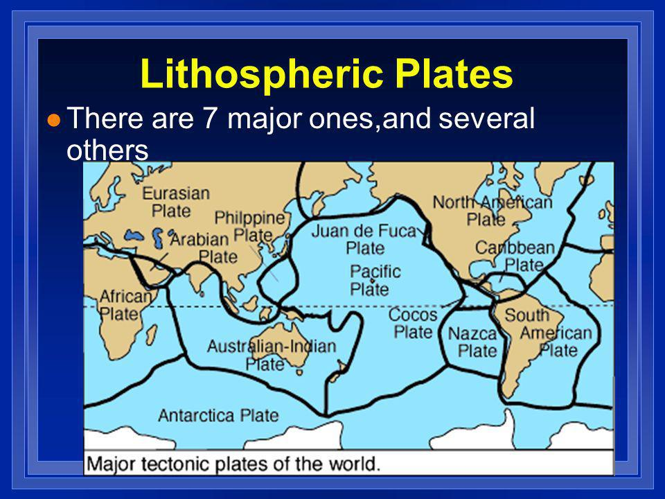 Lithospheric Plates l There are 7 major ones,and several others