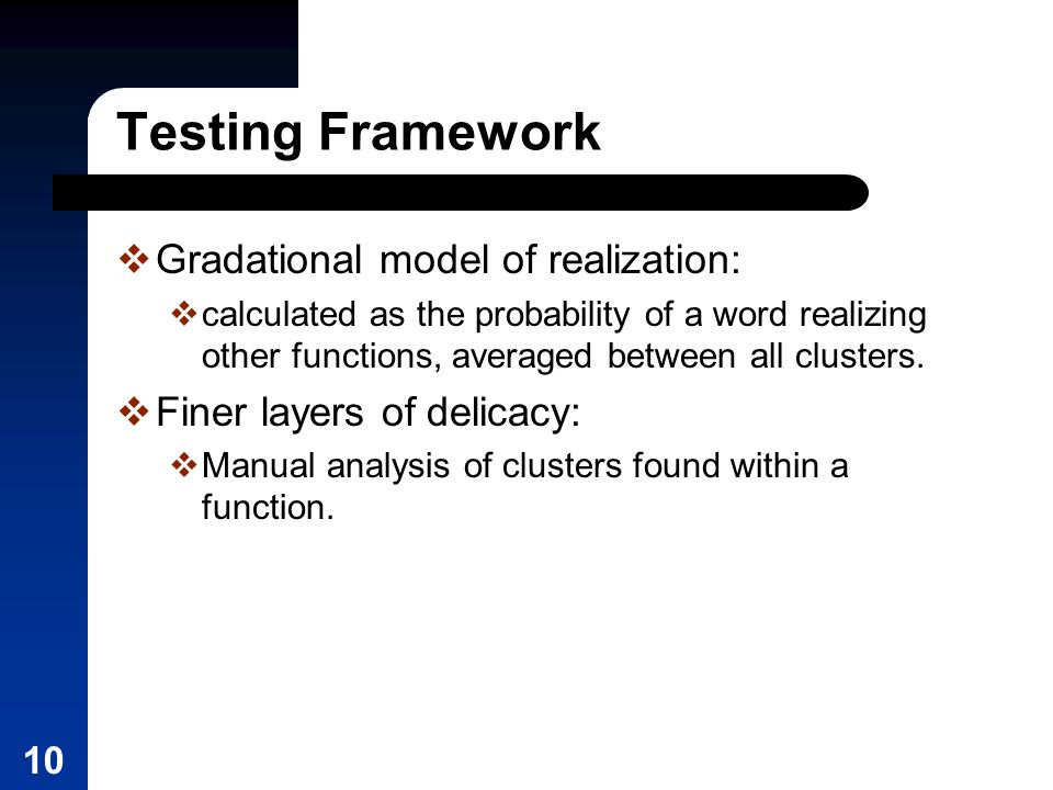 10 Testing Framework Gradational model of realization: calculated as the probability of a word realizing other functions, averaged between all clusters.
