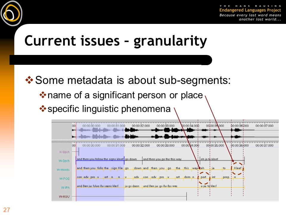 27 Current issues – granularity Some metadata is about sub-segments: name of a significant person or place specific linguistic phenomena