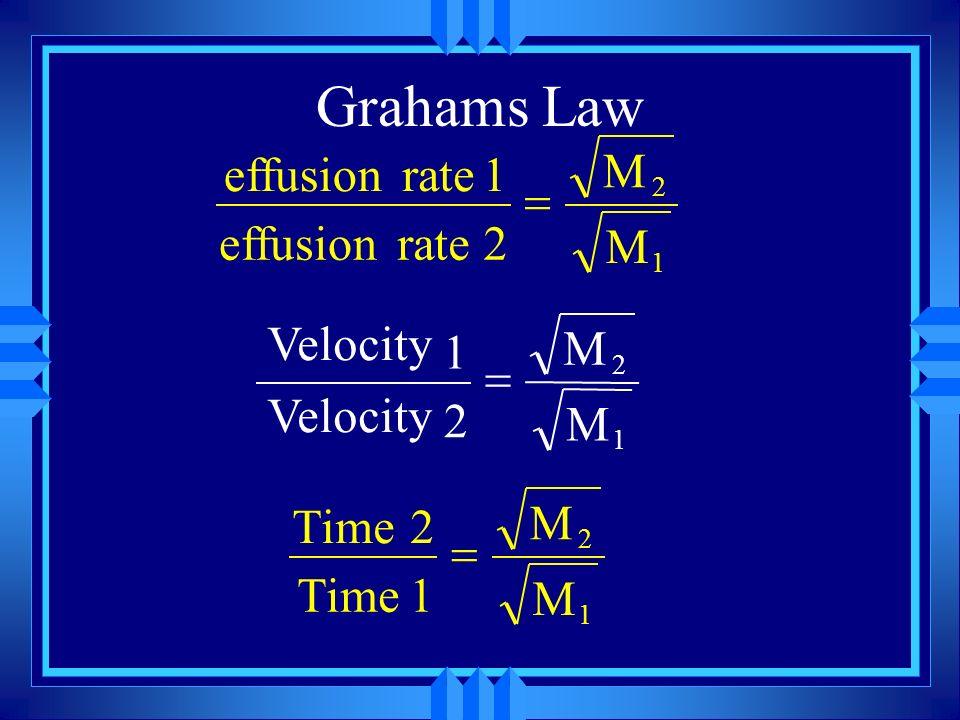 u bigger molecules move slower at the same temp. (by Square root) u Bigger molecules effuse and diffuse slower u Helium effuses and diffuses faster th