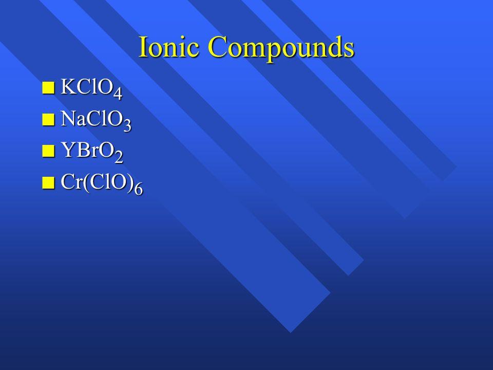 Ionic Compounds n Fe 2 (C 2 O 4 ) n MgO n MnO n KMnO 4 n NH 4 NO 3 n Hg 2 Cl 2 n Cr 2 O 3