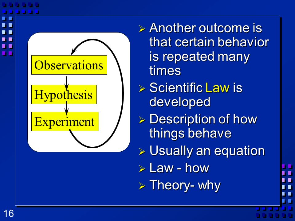 16 Another outcome is that certain behavior is repeated many times Another outcome is that certain behavior is repeated many times Scientific Law is d