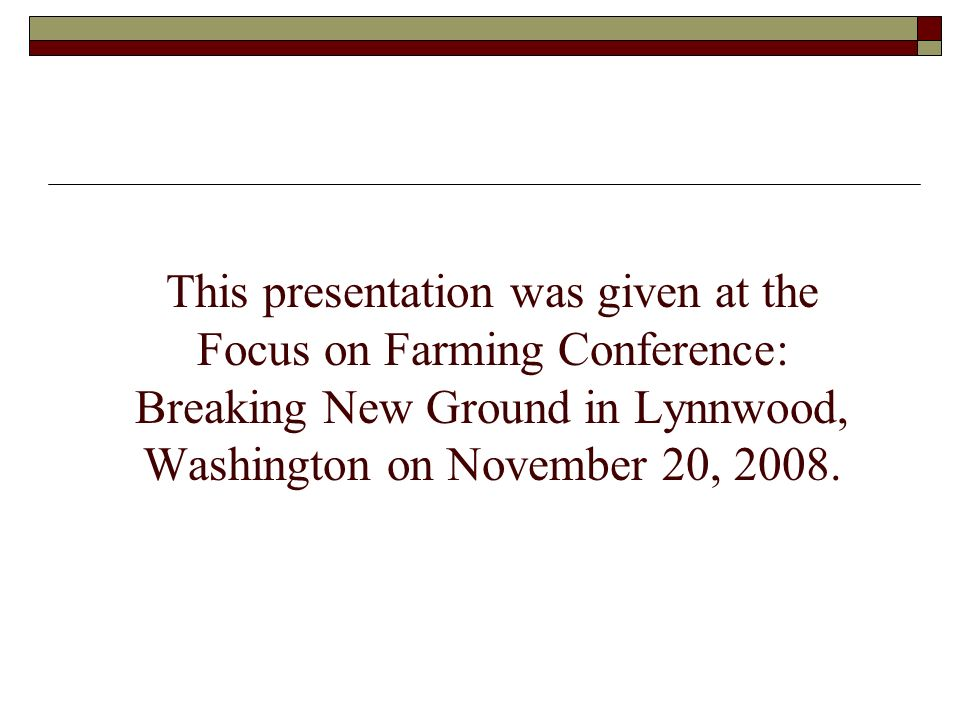 Marketing sheep and goats to the ethnic markets 2008 Focus on Farming Conference: Breaking New Ground Lynnwood, Washington - Thursday, November 20, 2008 Susan Schoenian Sheep & Goat Specialist Western Maryland Research & Education Center University of Maryland Cooperative Extension sschoen@umd.edu – www.sheepandgoat.com