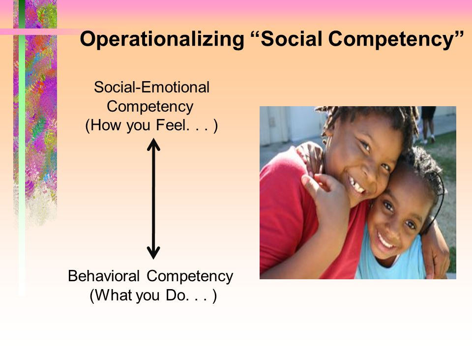 Operationalizing Social Competency Social-Emotional Competency (How you Feel... ) Behavioral Competency (What you Do... )