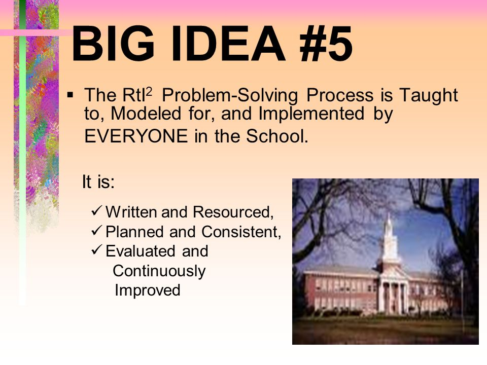 BIG IDEA #5 The RtI 2 Problem-Solving Process is Taught to, Modeled for, and Implemented by EVERYONE in the School. It is: Written and Resourced, Plan