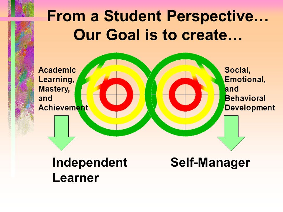 From a Student Perspective… Our Goal is to create… Independent Learner Self-Manager Academic Learning, Mastery, and Achievement Social, Emotional, and