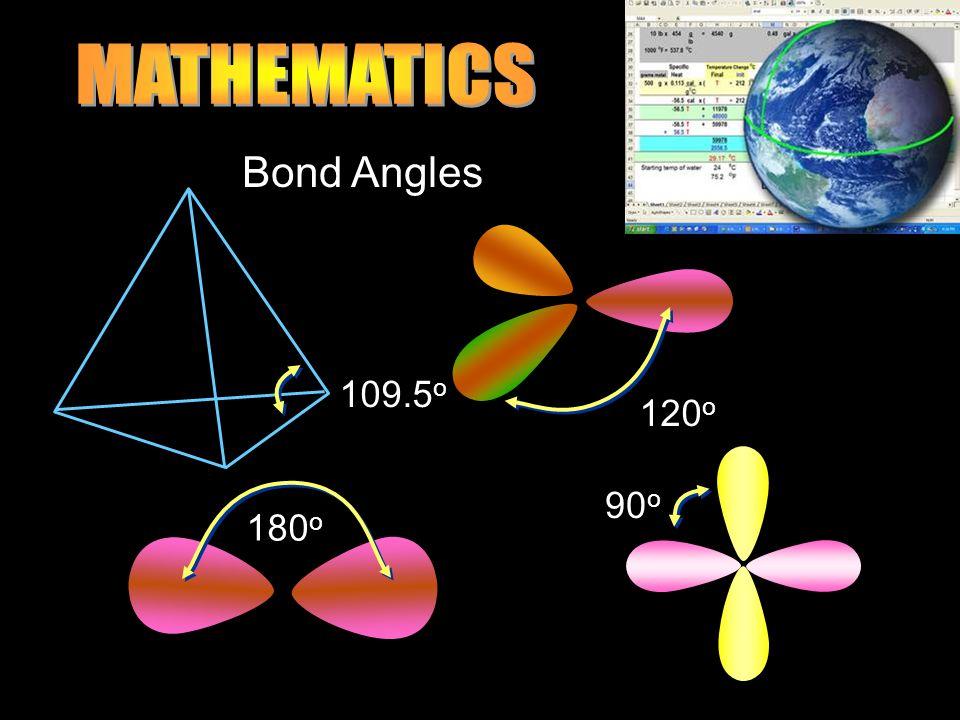 120 o 109.5 o 90 o 180 o Bond Angles