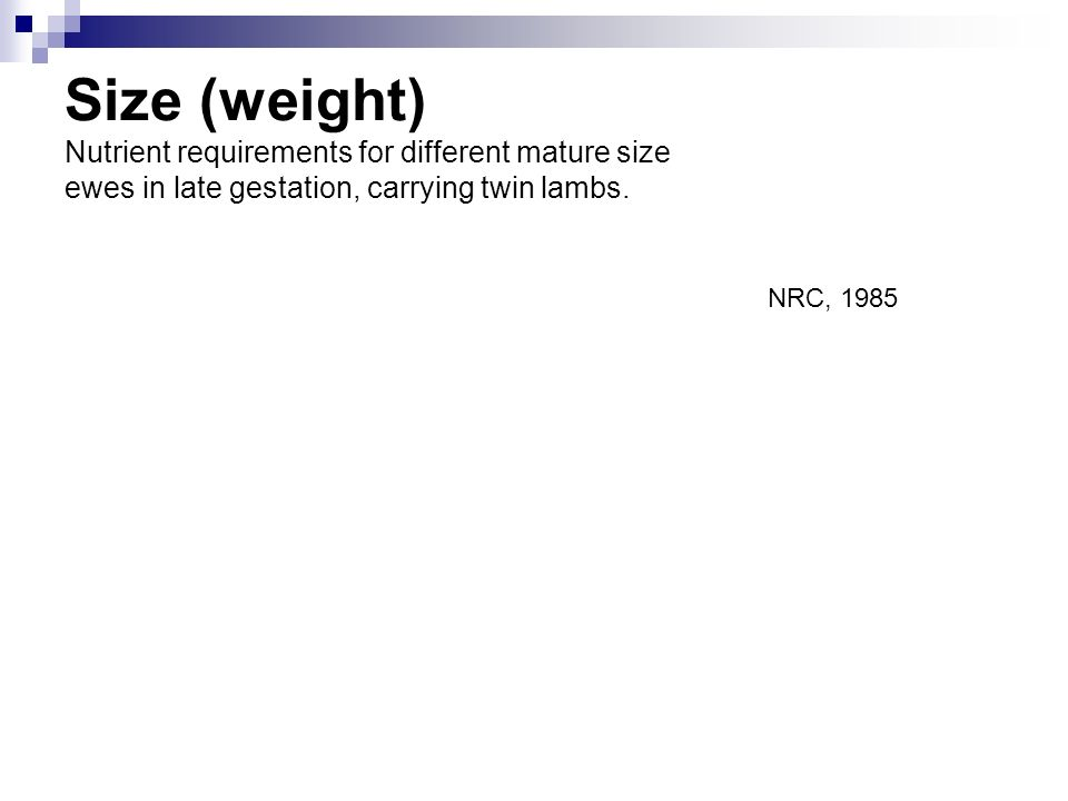 Size (weight) Nutrient requirements for different mature size ewes in late gestation, carrying twin lambs. NRC, 1985