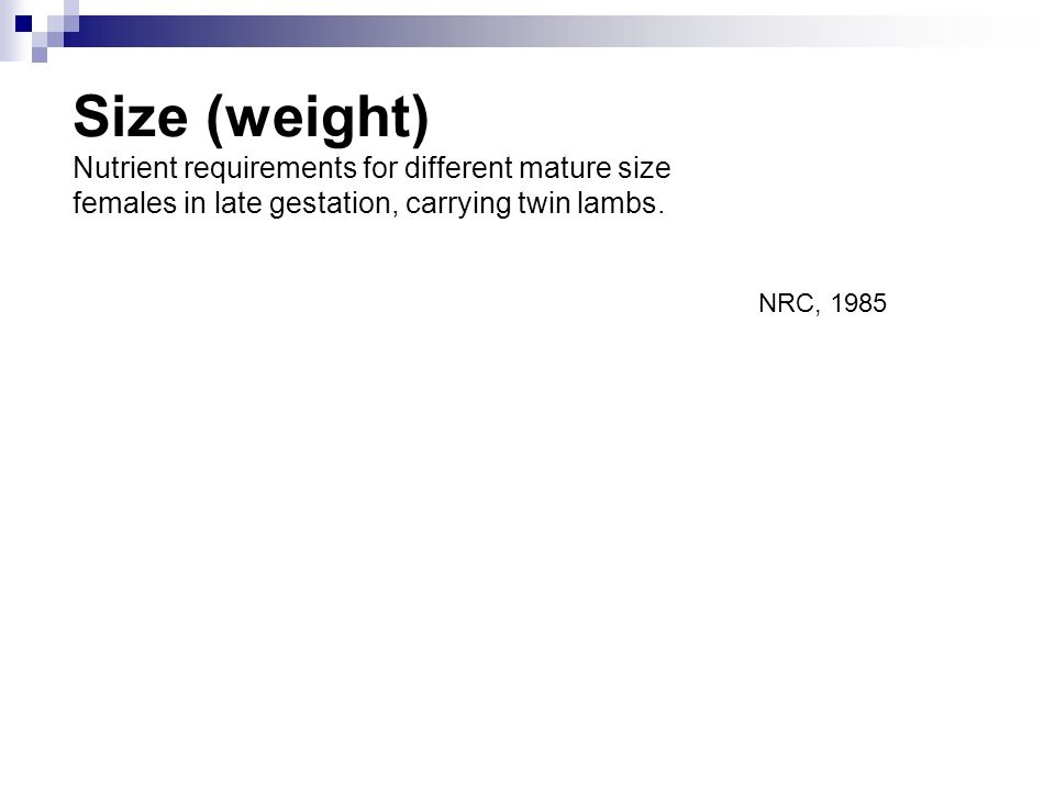 Size (weight) Nutrient requirements for different mature size females in late gestation, carrying twin lambs. NRC, 1985