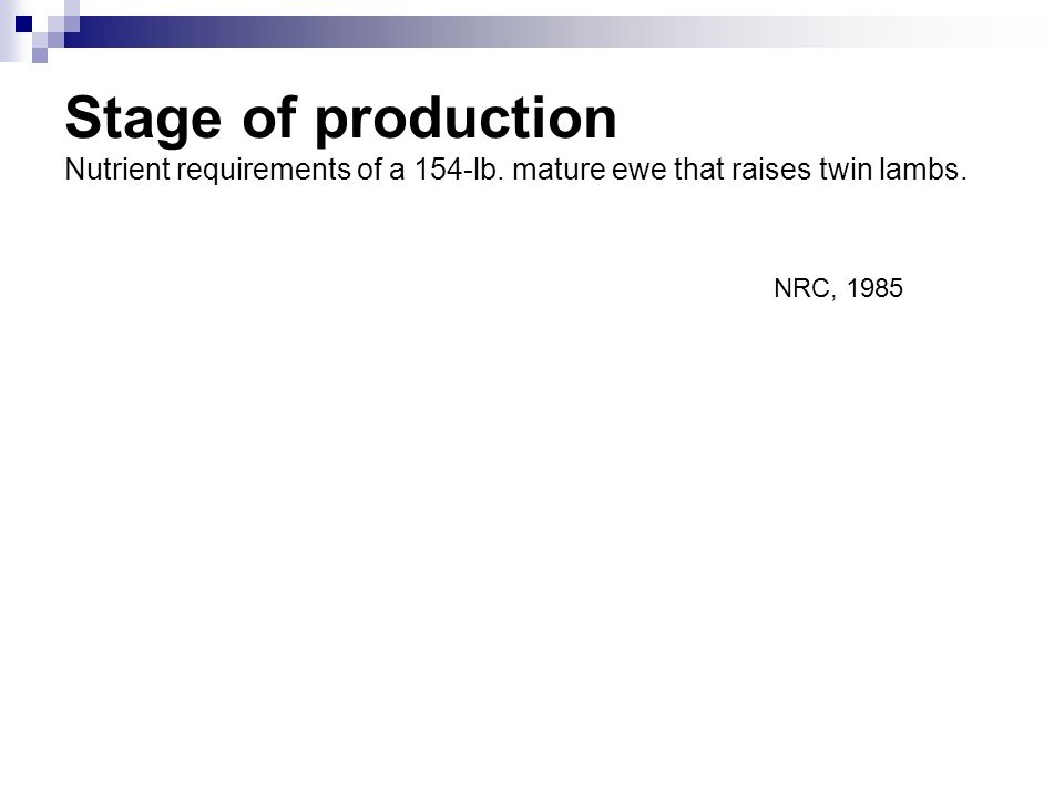 Stage of production Nutrient requirements of a 154-lb. mature ewe that raises twin lambs. NRC, 1985