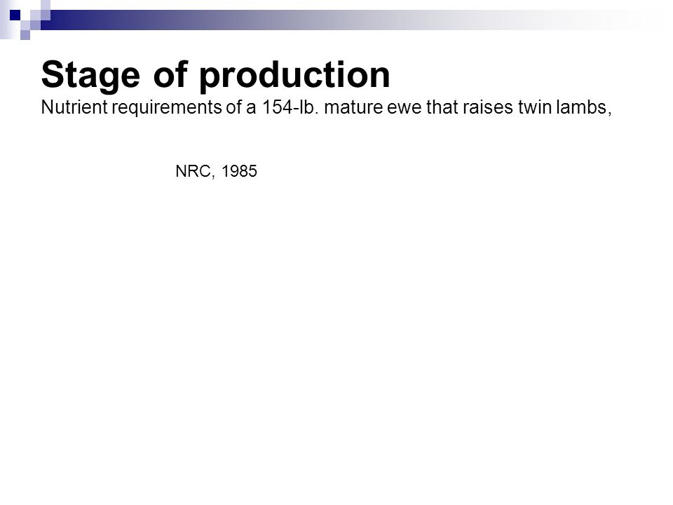 Stage of production Nutrient requirements of a 154-lb. mature ewe that raises twin lambs, NRC, 1985