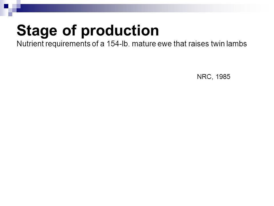 Stage of production Nutrient requirements of a 154-lb. mature ewe that raises twin lambs NRC, 1985