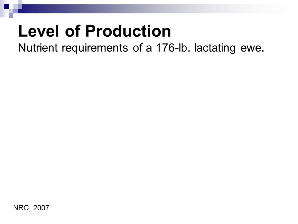 Level of Production Nutrient requirements of a 176-lb. lactating ewe. NRC, 2007