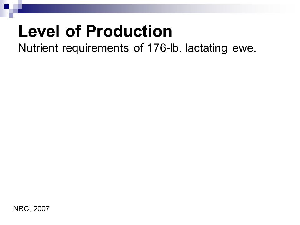 Level of Production Nutrient requirements of 176-lb. lactating ewe. NRC, 2007