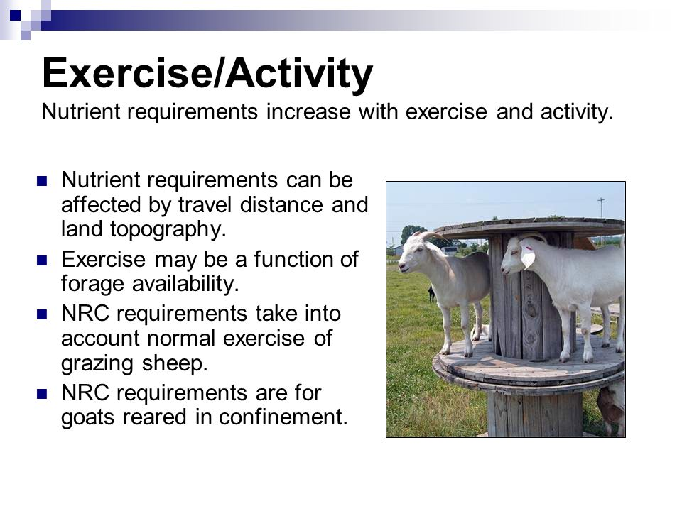 Exercise/Activity Nutrient requirements increase with exercise and activity. Nutrient requirements can be affected by travel distance and land topogra