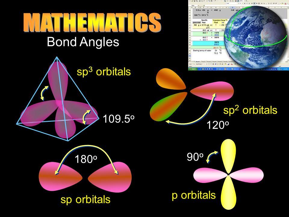 Bond Angles 120 o sp 2 orbitals 109.5 o sp 3 orbitals 180 o sp orbitals 90 o p orbitals