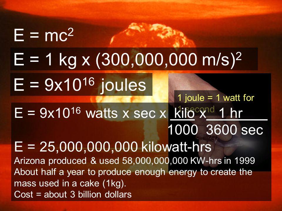 E = mc 2 E = 1 kg x (300,000,000 m/s) 2 E = 9x10 16 joules 1 joule = 1 watt for 1 second E = 9x10 16 watts x sec x kilo x 1 hr 1000 3600 sec E = 25,00
