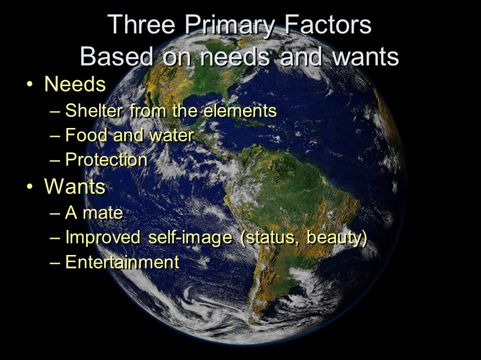 Three Primary Factors Based on needs and wants Needs –Shelter from the elements –Food and water –Protection Wants –A mate –Improved self-image (status
