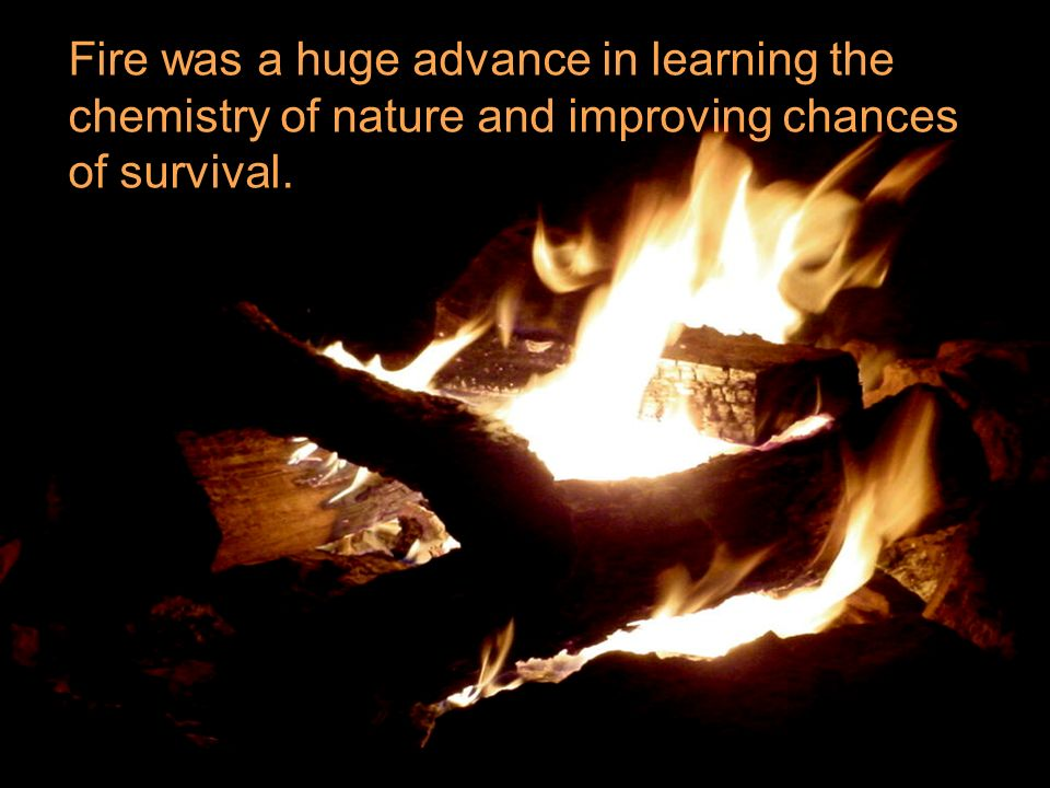 Fire was a huge advance in learning the chemistry of nature and improving chances of survival.