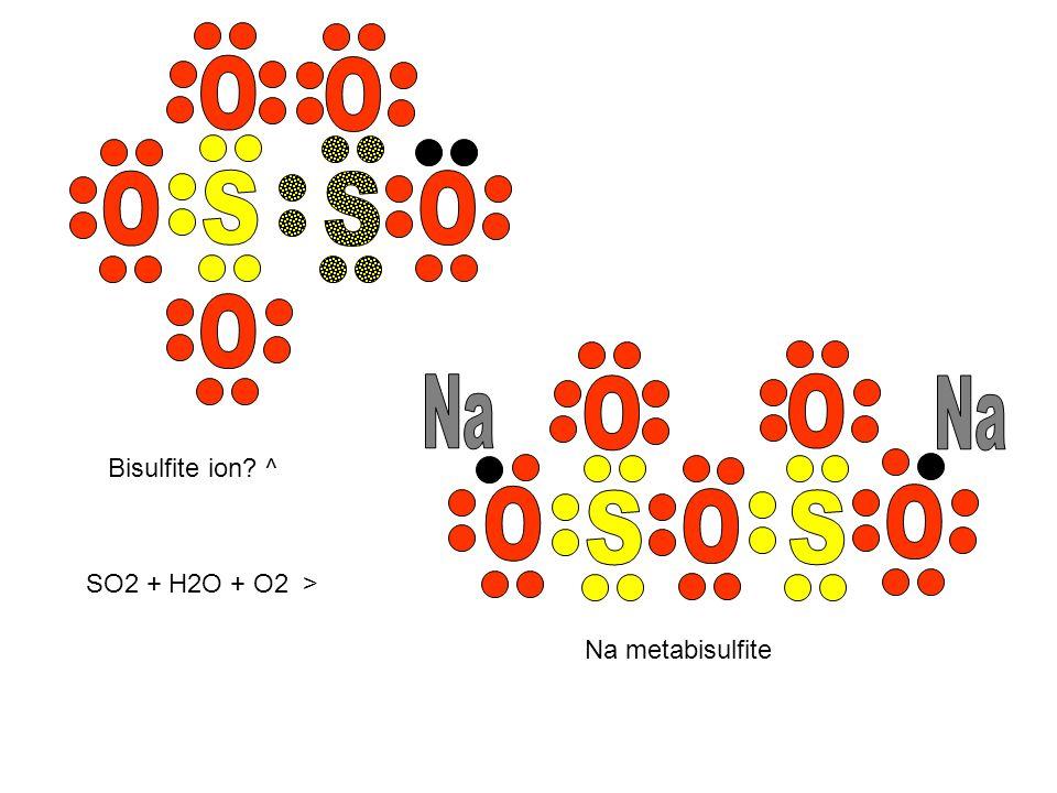 SO2 + H2O + O2 > Bisulfite ion? ^ Na metabisulfite