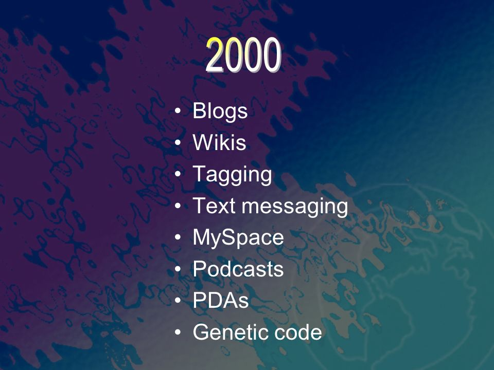 Blogs Wikis Tagging Text messaging MySpace Podcasts PDAs Genetic code