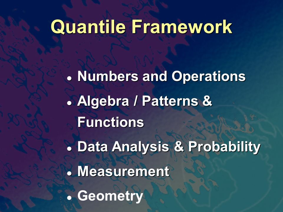 500 600 700 900 1000 800 Quantile Measure (Q) Personal Use Employment High School First-Year College 1200 1100 1300 1500 1400 Interquartile Ranges Shown (25% - 75%) 2005-06 Quantile Framework ® for Math 8th 10th 11th