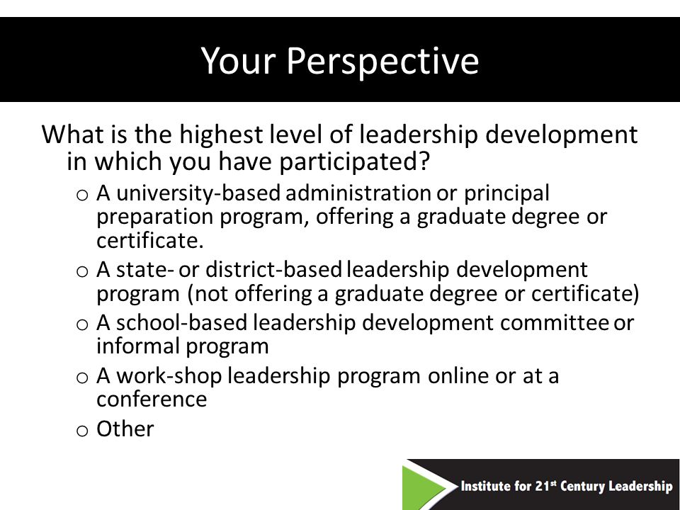 Your Perspective What is the highest level of leadership development in which you have participated.