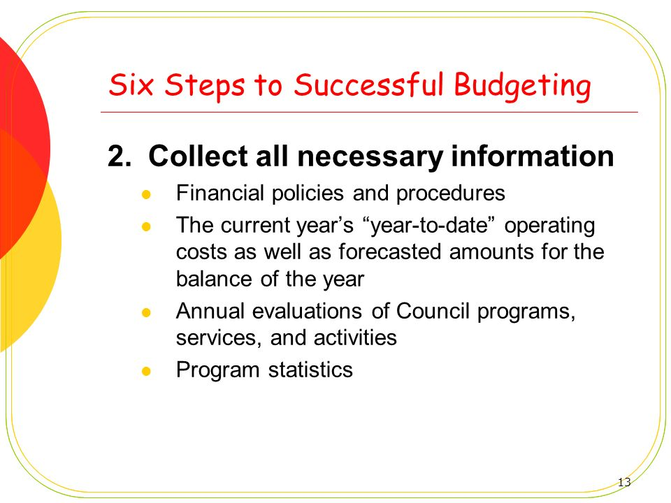 13 Six Steps to Successful Budgeting 2.Collect all necessary information Financial policies and procedures The current years year-to-date operating co