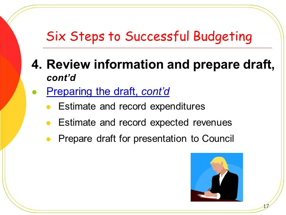 17 Six Steps to Successful Budgeting 4.Review information and prepare draft, contd Preparing the draft, contd Estimate and record expenditures Estimat